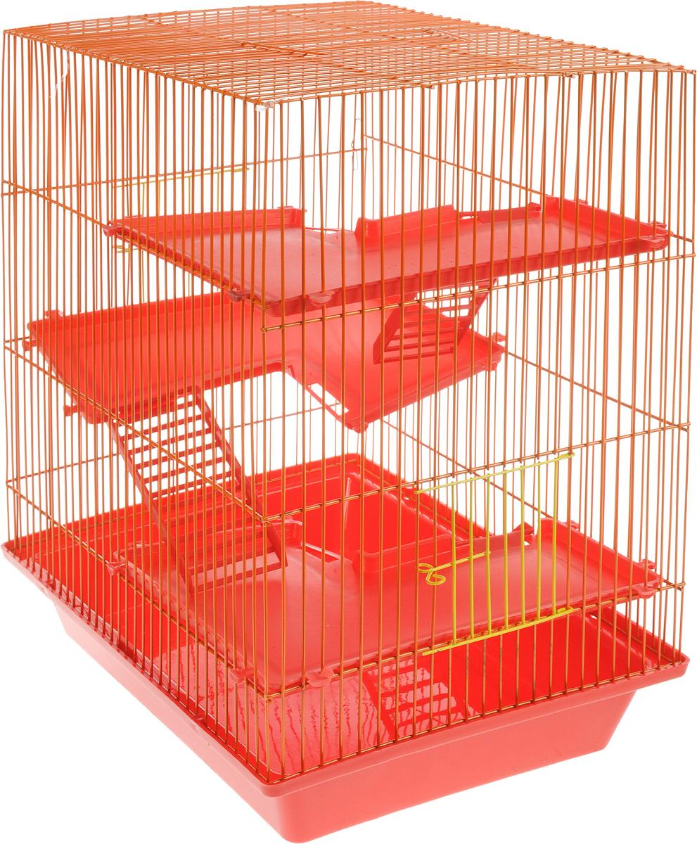 Клетка для грызунов ЗооМарк Гризли, 4-этажная, цвет: красный поддон, оранжевая решетка, красные этажи, 41 х 30 х 50 см цена