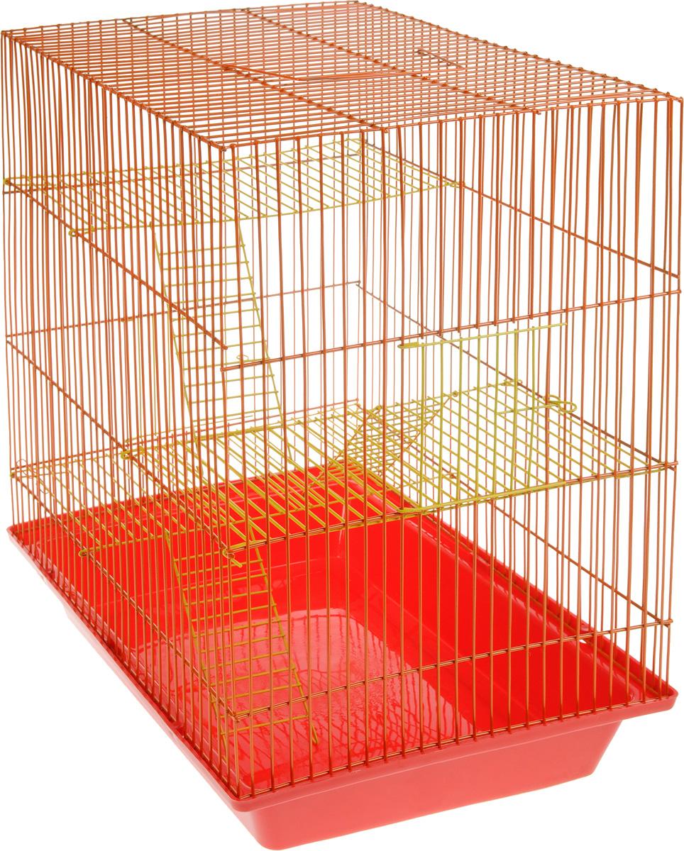 Клетка для грызунов ЗооМарк Гризли, 4-этажная, цвет: красный поддон, оранжевая решетка, желтые этажи, 41 х 30 х 50 см цена
