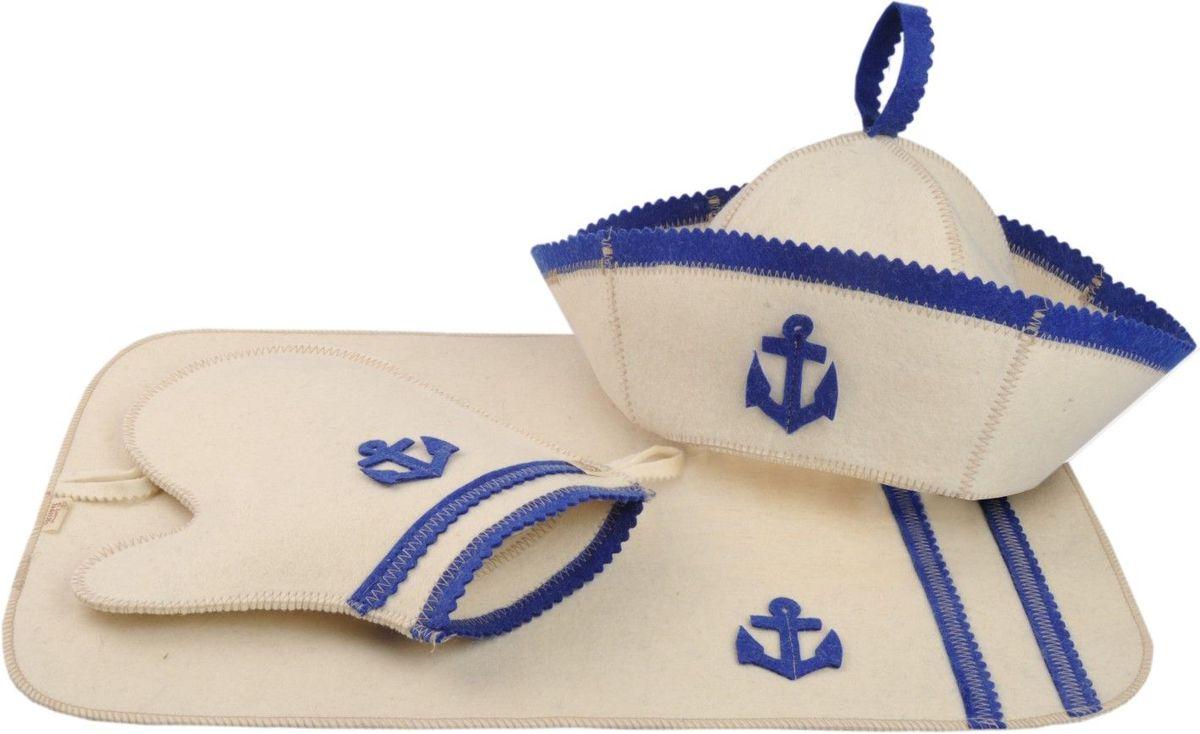 Набор для бани и сауны Моряк, 3 предмета904720Набор для бани и сауны Моряк, выполненный из натуральной шерсти, привлечет внимание любителей модных тенденций в банной одежде. В набор входят все необходимые аксессуары, для того чтобы банный поход принес вам только радость. Набор состоит из коврика, шапки и рукавицы. Шапка - незаменимая вещь в парной. Она необходима для того, чтобы не перегреть голову, также она должна хорошо впитывать влагу. Коврик убережет вас от горячей полки, защитит вас в общественной бане, а варежка обезопасит ваши руки от горячего пара или ручки ковша. Рукавицей можно также прекрасно помассировать тело. Характеристики: Материал: 100% шерсть. Диаметр шапки по нижнему краю: 30 см. Высота шапки: 18 см. Длина рукавицы: 27 см. Размер коврика: 50 см х 33 см. Размер упаковки: 33 см х 25 см х 7,5 см. Производитель: Россия.