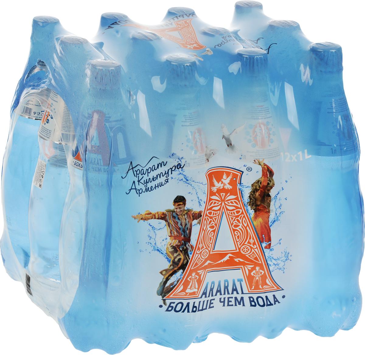 Ararat вода газированная минеральная лечебно-столовая, 12 штук по 1 л