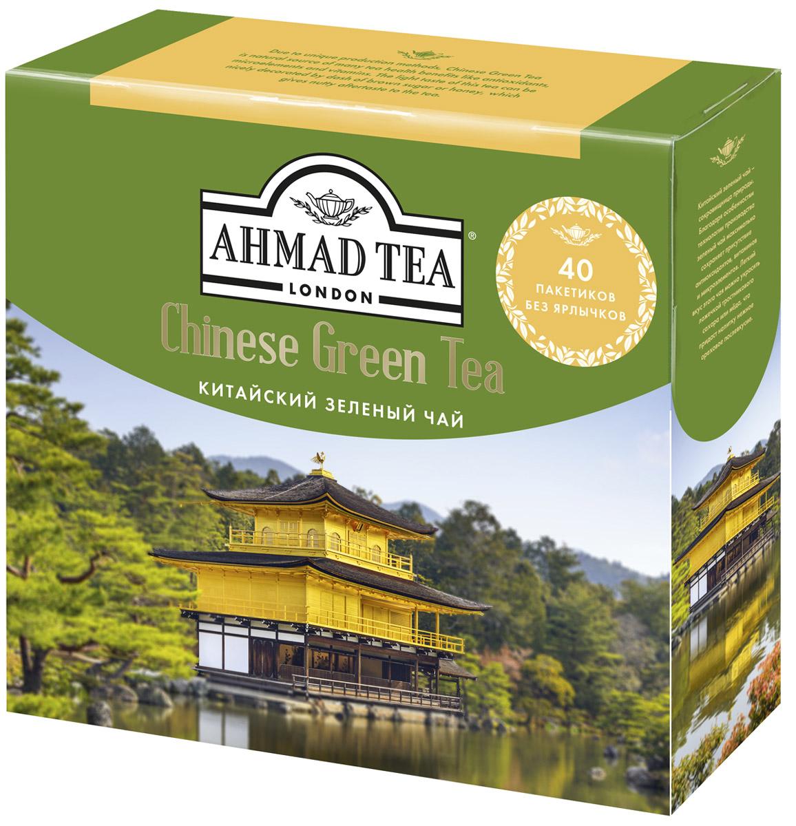 Ahmad Tea Китайский зеленый чай в пакетиках для заваривания в чайнике, 40 шт цена