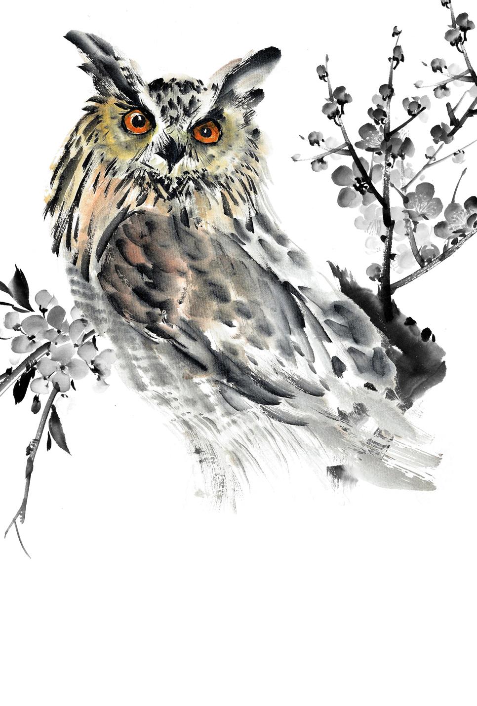 Японская живопись суми-э. Филин. Блокнот mini эксмо магнитные японская живопись совы