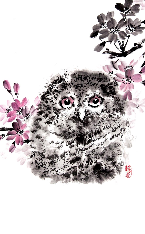 Японская живопись суми-э. Сова. Блокнот mini эксмо магнитные японская живопись совы