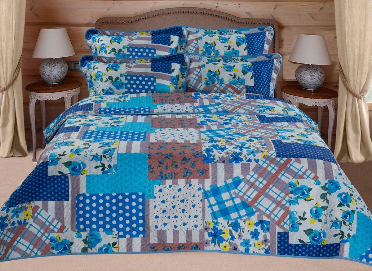 """Комплект для спальни Guten Morgen """"Печворк"""": покрывало 210 х 240 см, наволочки 70 х 70 см, цвет: синий"""