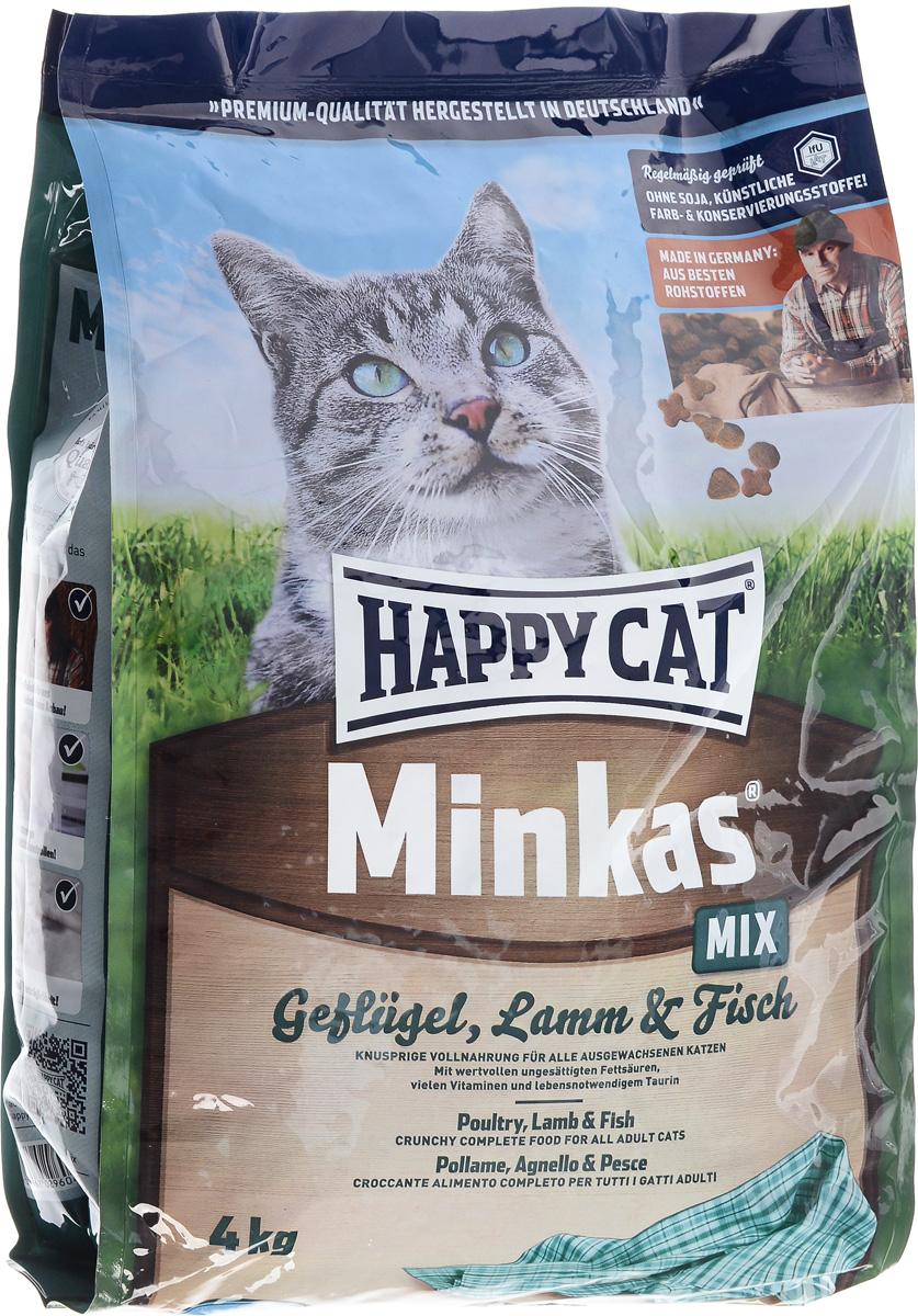 Корм сухой Happy Cat Minkas Mix для взрослых кошек, с птицей, ягненком и рыбой, 4 кг корм сухой happy cat minkas для взрослых кошек с птицей 4 кг