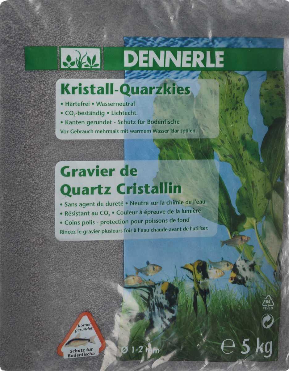 Грунт для аквариума Dennerle Kristall-Quarz, натуральный, цвет: темно-серый, 1-2 мм, 5 кг грунт для аквариума dennerle кристал кварц сланцево серый 1 2мм 10кг