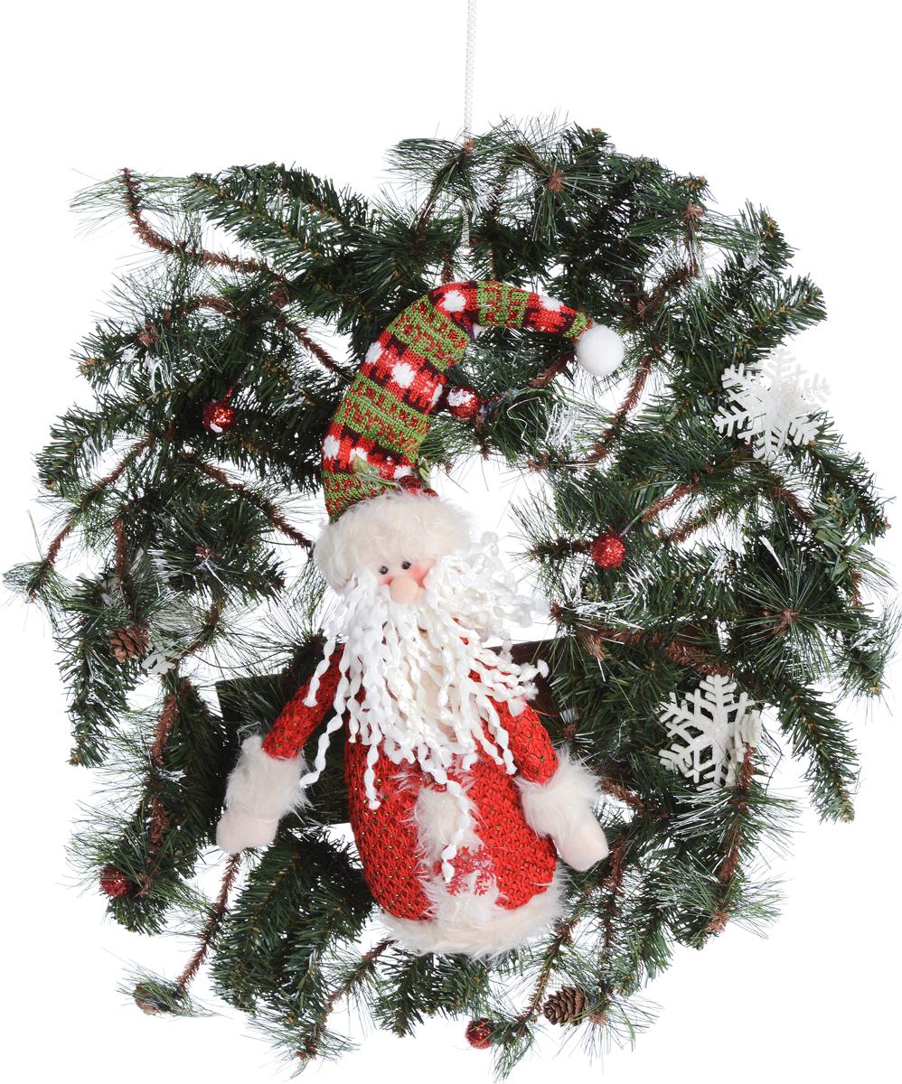 """Венок новогодний """"Рождественский венок"""", с подсветкой, цвет: зеленый, красный, 56 х 10 х 56 см"""