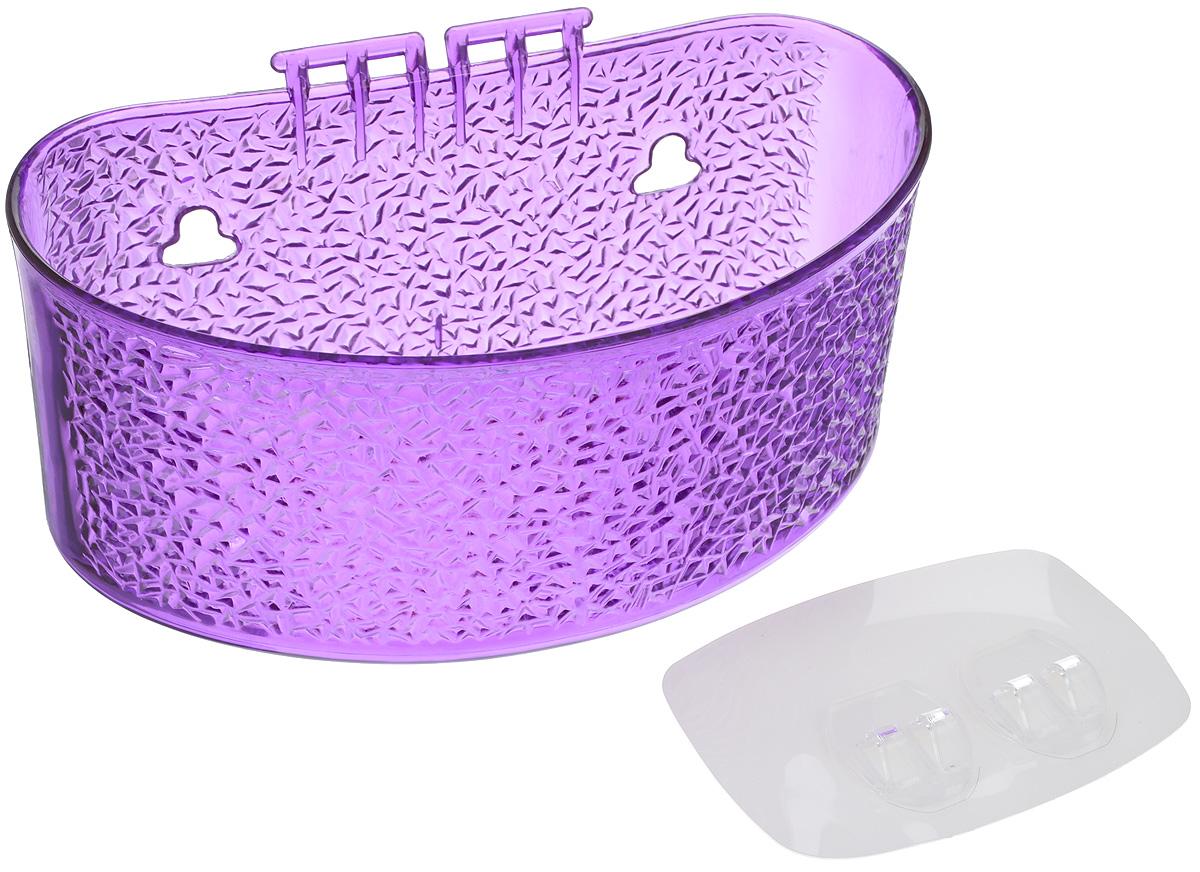 Полка для ванной комнаты Fresh Code, на липкой основе, цвет: фиолетовый, 19 х 10 х 10 см полка для ванной комнаты hiba