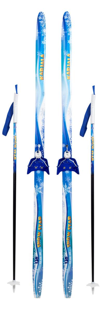 """Лыжи беговые Karjala """"Snowstar"""", с креплением 75 мм, цвет: синий, рост 120 см"""