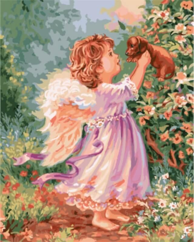 """Набор для рисования по номерам Цветной """"Ангел со щенком"""", 40 x 50 см"""