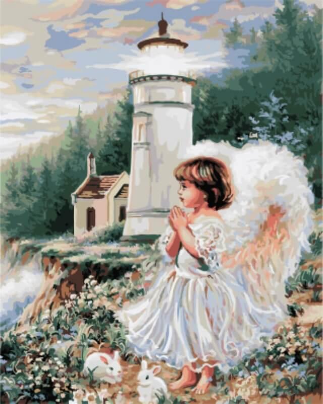 """Набор для рисования по номерам Цветной """"Ангел у маяка Доны Гелсингер"""", 40 x 50 см"""