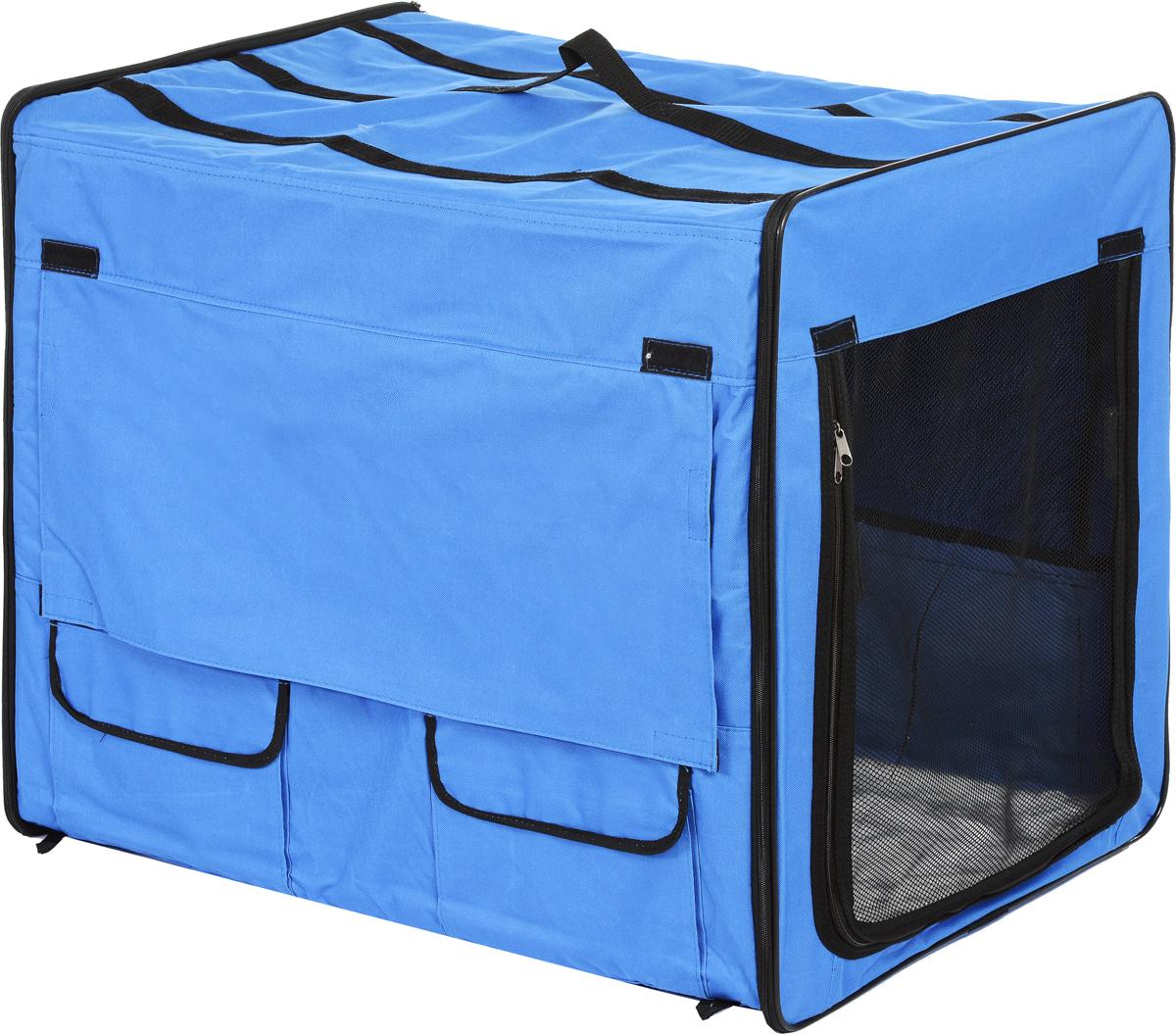 "Клетка для животных ""Заря-Плюс"", выставочная, цвет: голубой, черный, 75 х 60 х 50 см"