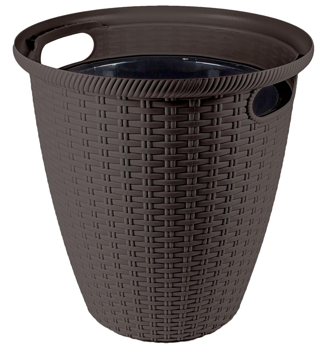 Кашпо InGreen Ротанг, напольное, цвет: венге, диаметр 38 см поддон для балконного ящика ingreen цвет белый длина 60 см