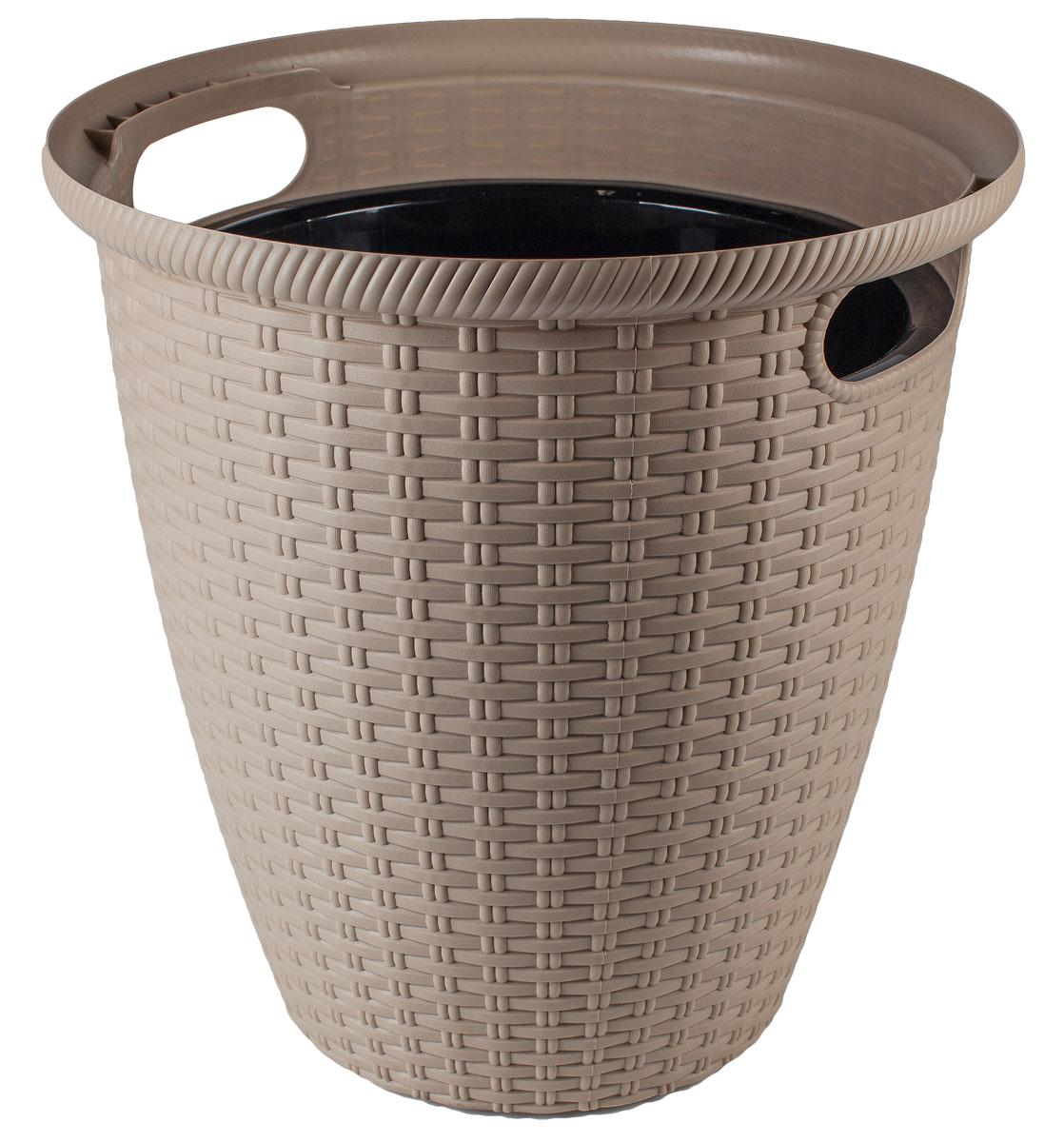 Кашпо InGreen Ротанг, напольное, цвет: шоколадный, диаметр 38 см кашпо для домашних растений umbra giardino цвет белый 34 х 16 х 34 см