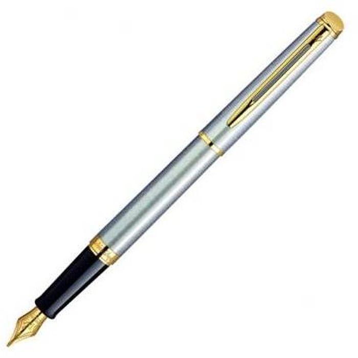 Waterman Ручка перьевая Hemisphere Essential Stainless Steel GT синяя корпус стальной золото waterman ручка перьевая expert black gt синяя корпус черный золото