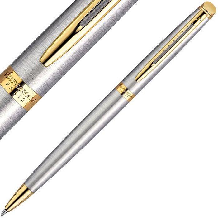 Waterman Ручка шариковая Hemisphere Essential Stainless Steel GT синяя корпус стальной золото шариковая ручка waterman hemisphere steel gt чернила синие корпус серебристый s0920370