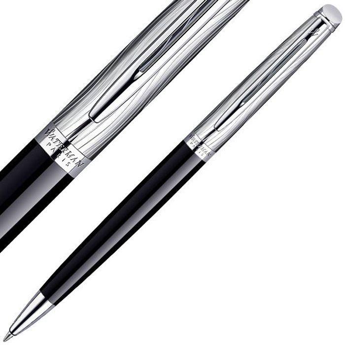 Waterman Ручка шариковая Hemisphere Deluxe Black CT синяя корпус стальной черный шариковая ручка waterman hemisphere deluxe privee чернила синие 1971620