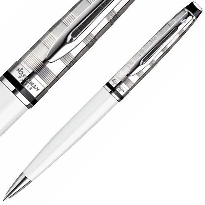 Waterman Ручка шариковая Expert Deluxe White CT синяя корпус белый шариковая ручка waterman hemisphere deluxe privee чернила синие 1971620