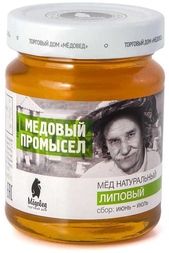 Медовед Медовый промысел мед пчелиный натуральный липовый, 350 г мед натуральный берестов а с липовый башкирхан 360 г