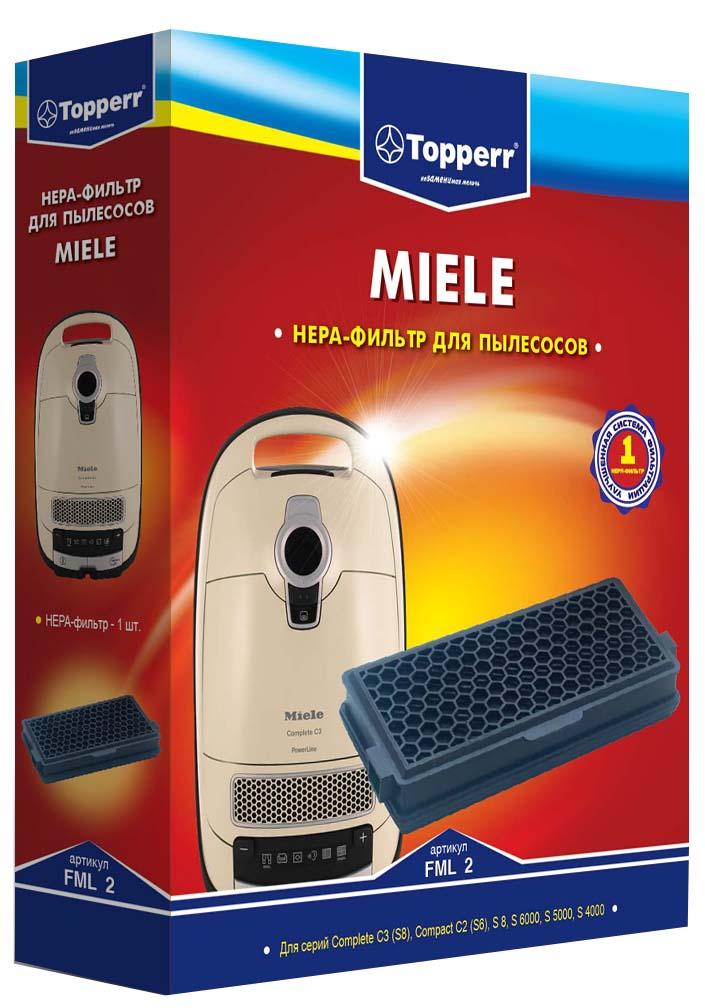 Topperr FML 2 HEPA-фильтр для пылесосов Miele пылесборники синтетические topperr ml 30 4шт 1 фильтр для miele hoover