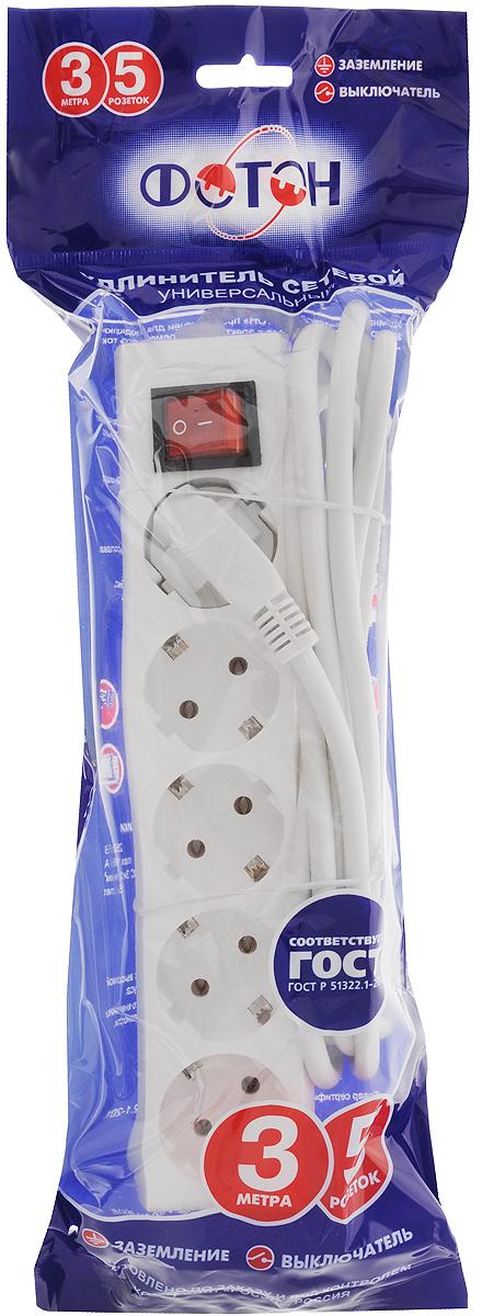 Фото - Удлинитель сетевой Фотон, с заземлением, с выключателем, цвет: белый, 5 розеток, 3 м. 16-35ЕS удлинитель фотон 16 53e [1x3] 5м с заземлением