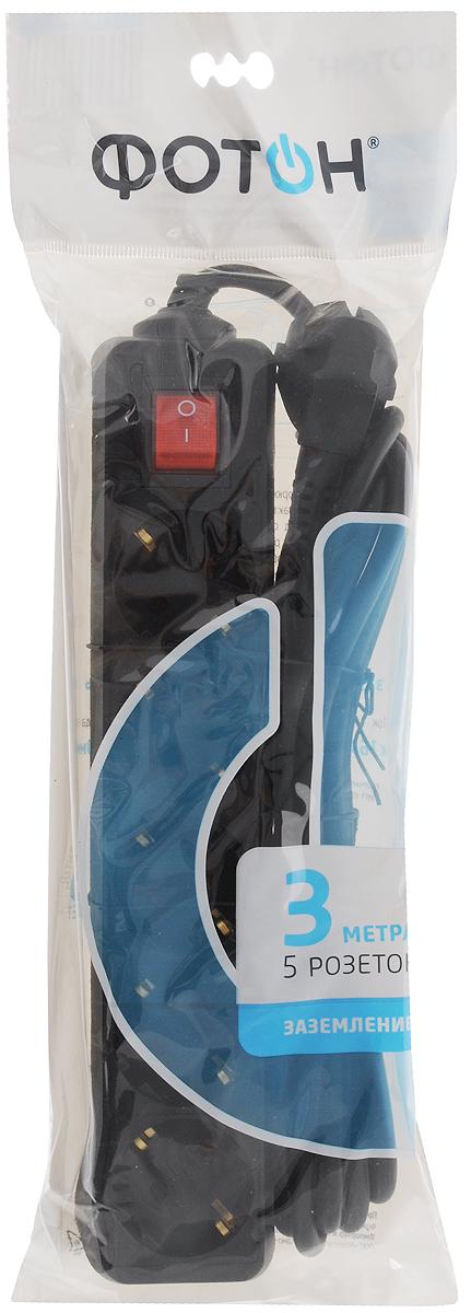 Фото - Удлинитель сетевой Фотон, с заземлением, с выключателем, цвет: черный, 5 розеток, 3 м. 16-35ЕS удлинитель фотон 16 53e [1x3] 5м с заземлением