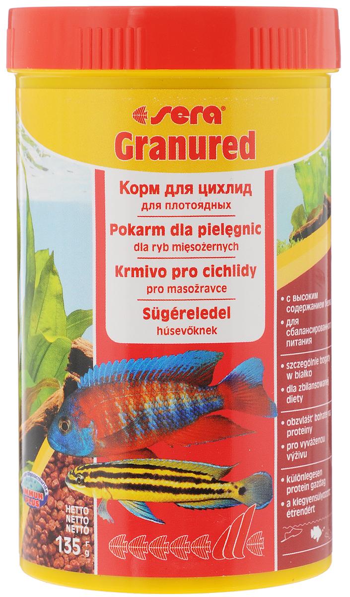 Корм Sera Granured, для плотоядных рыб, 135 г корм sera granugreen 250ml 09630 для растительноядных цихлид