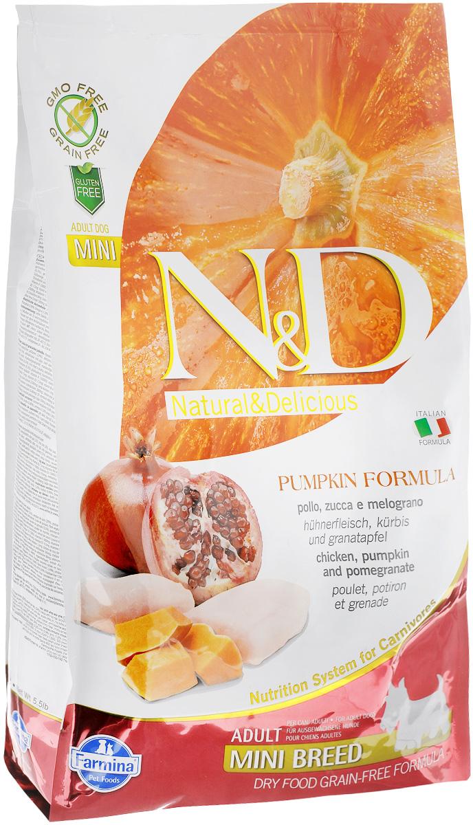 """Корм сухой Farmina """"N&D"""" для собак мелких пород, беззерновой, с курицей, гранатом и тыквой, 2,5 кг"""