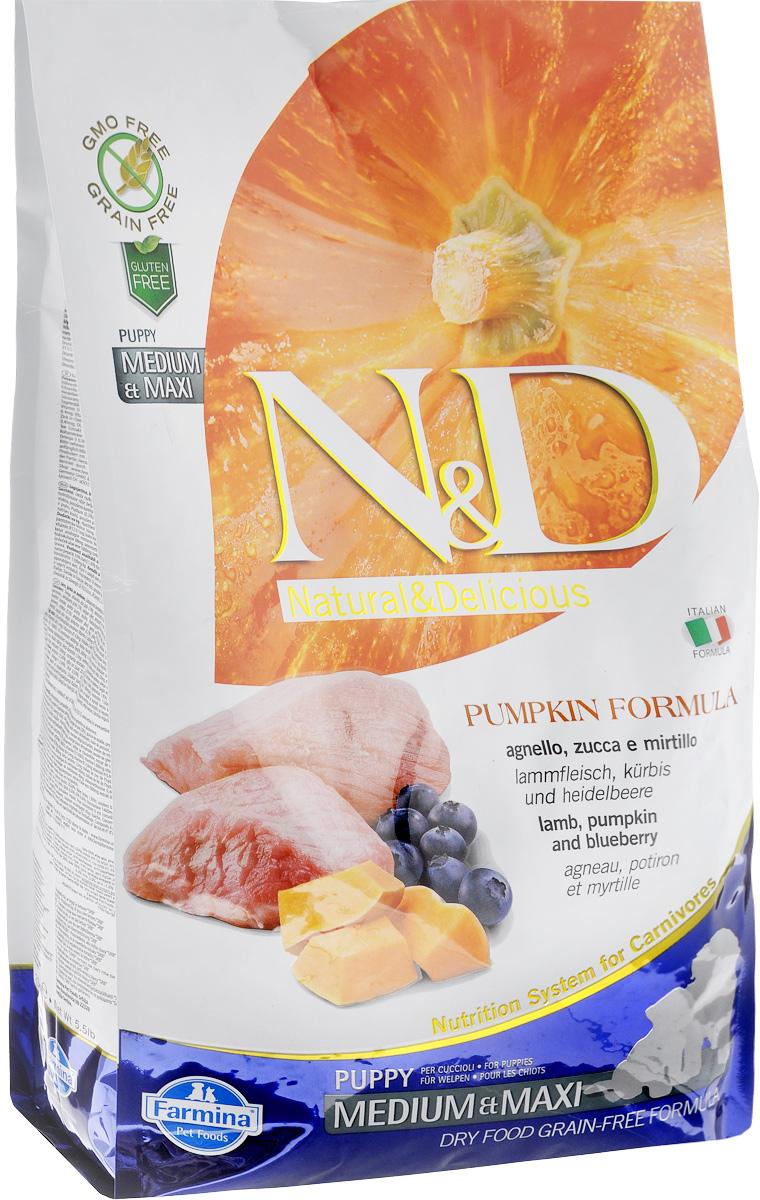 """Корм сухой Farmina """"N&D"""" для щенков средних и крупных пород, беззерновой, с ягненком, черникой и тыквой, 2,5 кг"""