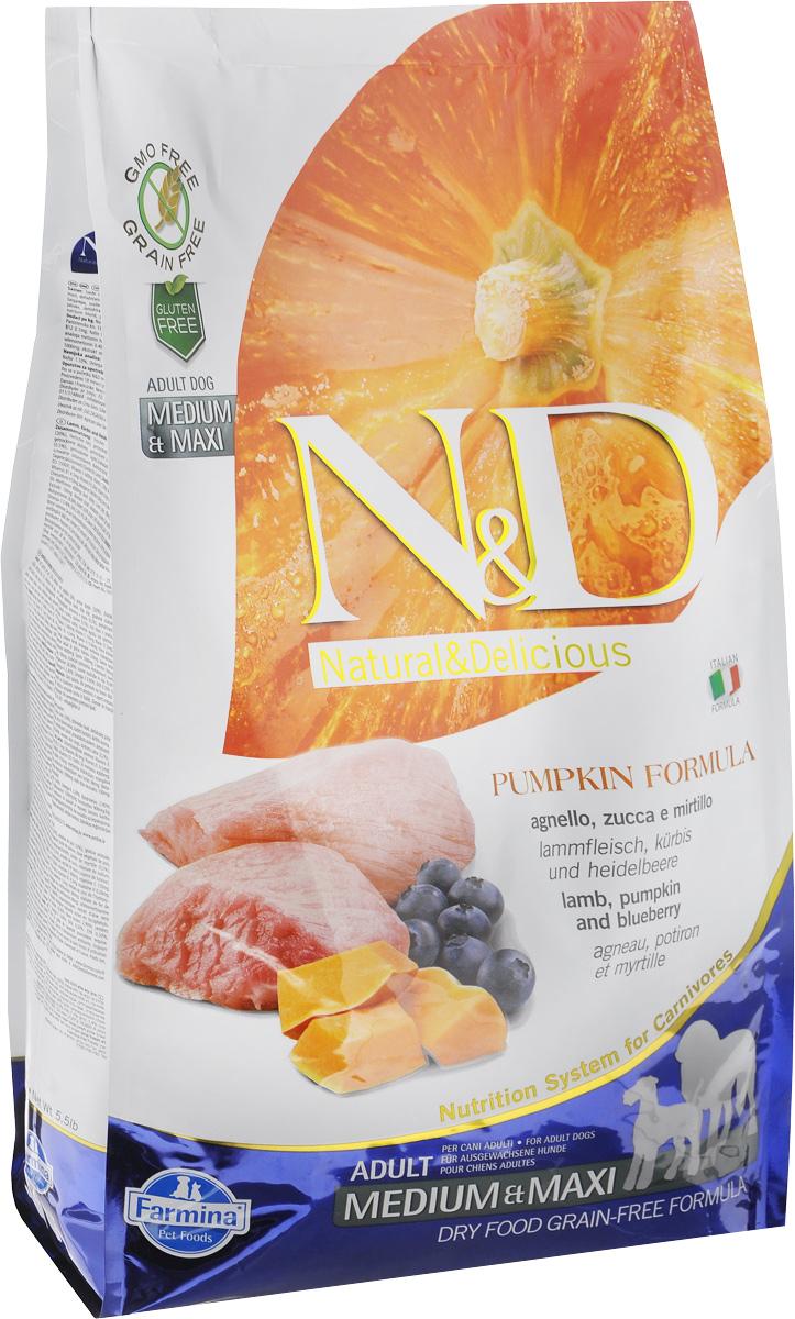"""Корм сухой Farmina """"N&D"""" для собак средних и крупных пород, беззерновой, с ягненком, черникой и тыквой, 2,5 кг"""