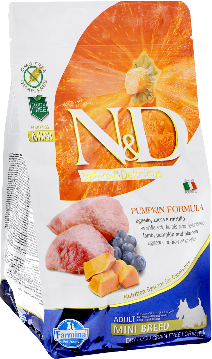 """Корм сухой Farmina """"N&D"""" для собак мелких пород, беззерновой, с ягненком, черникой и тыквой, 800 г"""