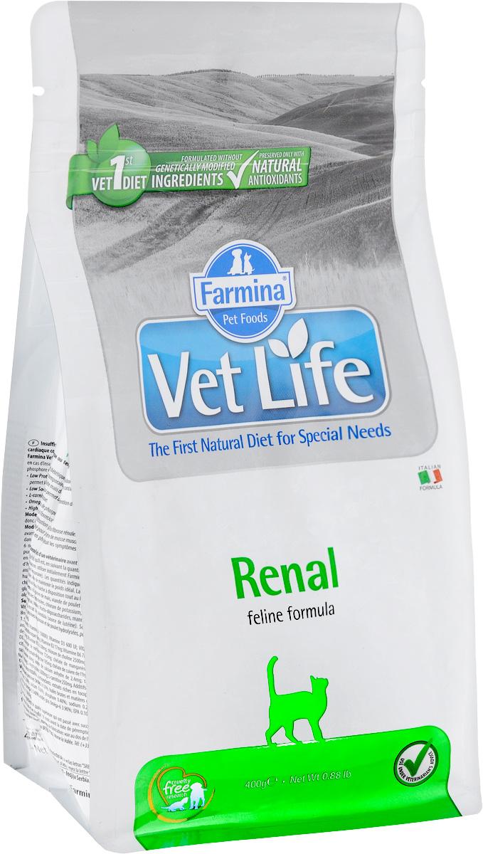 Корм сухой Farmina Vet Life для кошек, для поддержания функции почек при почечной недостаточности, диетический, 400 г корм сухой для кошек farmina vet life диетический для растворения струвитных уролитов 400 г