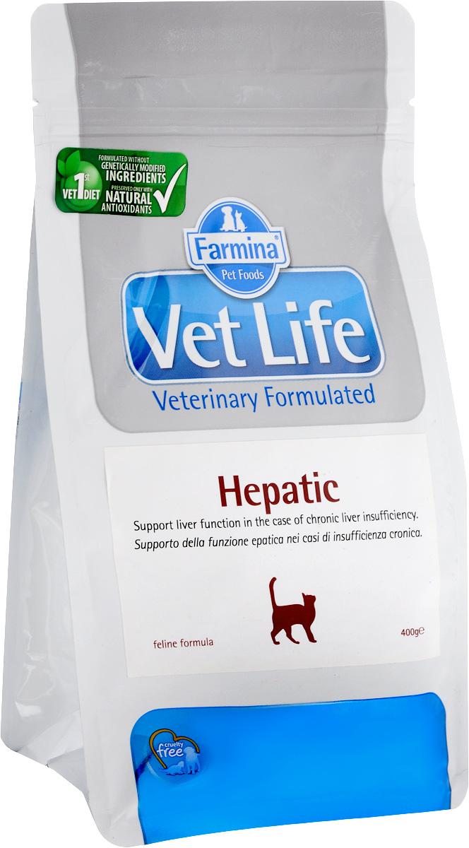 Корм сухой для кошек Farmina Vet Life, диетический, при хронической печеночной недостаточности, 400 г корм сухой farmina vet life для кошек для поддержания функции почек при почечной недостаточности диетический 400 г