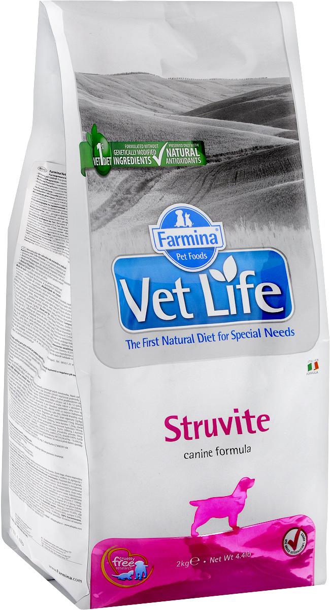 Корм сухой Farmina Vet Life для собак с мочекаменной болезнью струвитного типа, диетический, 2 кг корм сухой для кошек farmina vet life диетический для растворения струвитных уролитов 400 г