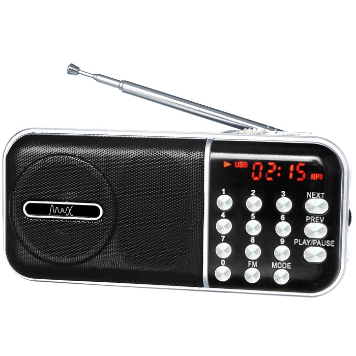 MAX MR-321, Silver Black портативный радиоприемник с MP3 любовь урок aker ak58 lcd цифровой микрофон fm выбор радио портативный динамик талии висел небольшой пчелы аудио красный
