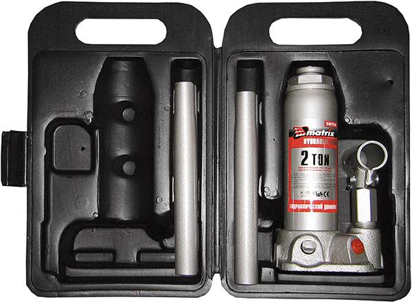 Домкрат гидравлический бутылочный Matrix, 2 т, высота подъема 18,1–34,5 см. 50750