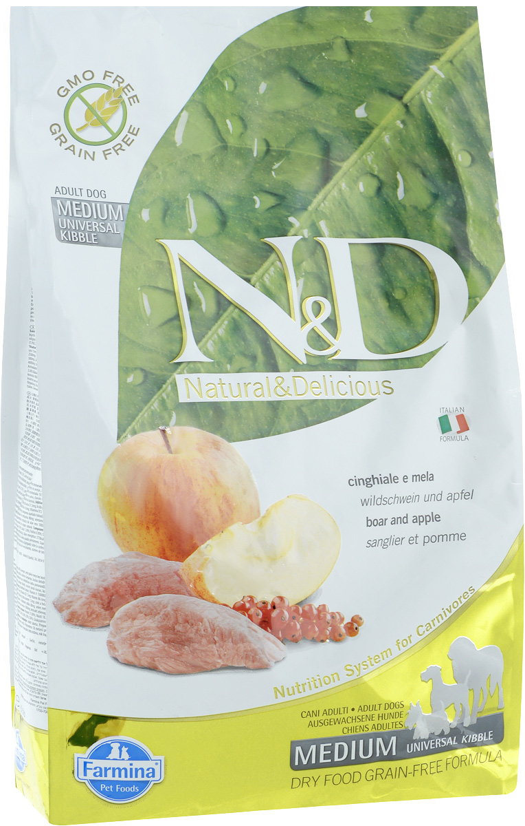 Корм сухой для собак Farmina N&D, беззерновой, с кабаном и яблоком, 2,5 кг корм n d