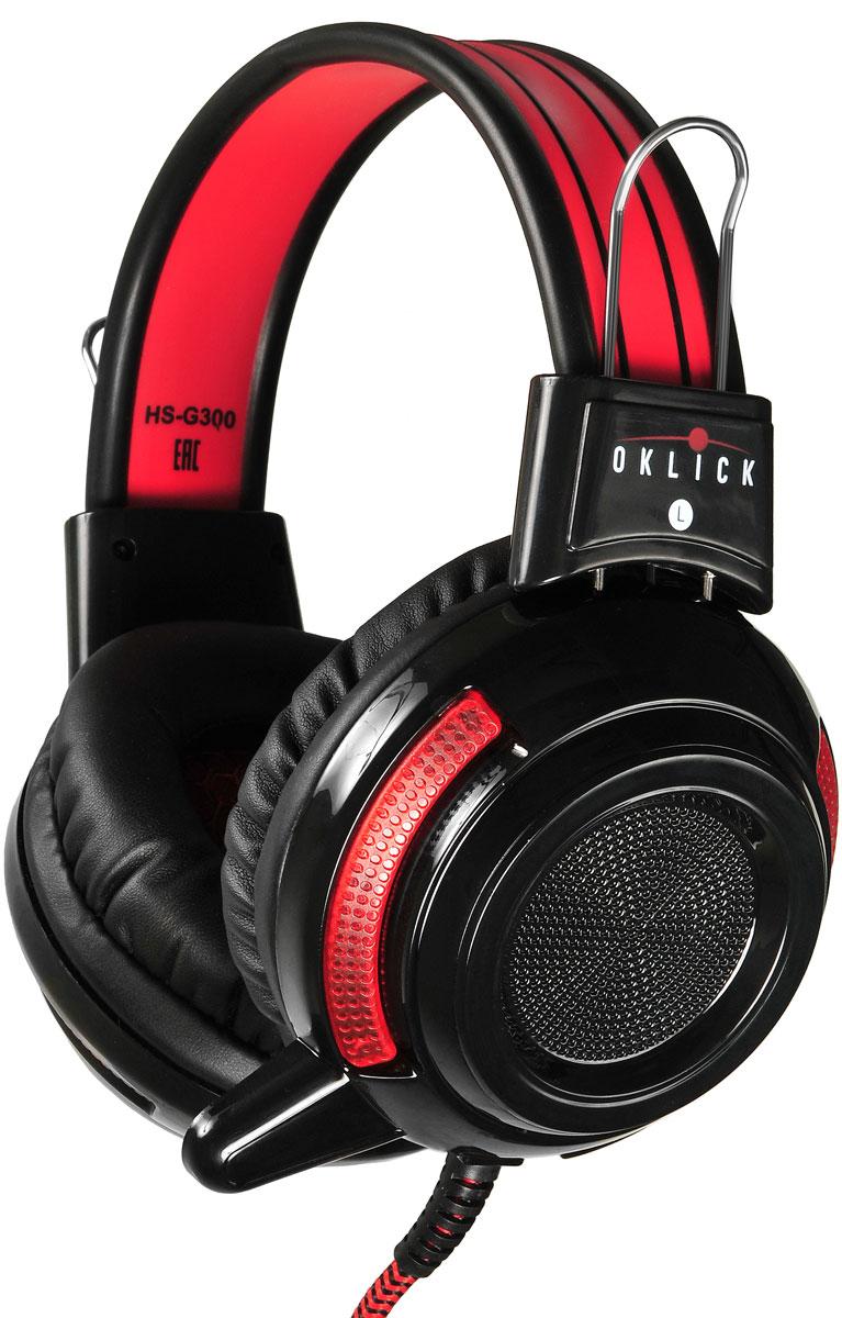 Oklick HS-G300, Black Red игровые наушники oklick hs l340g black игровые наушники
