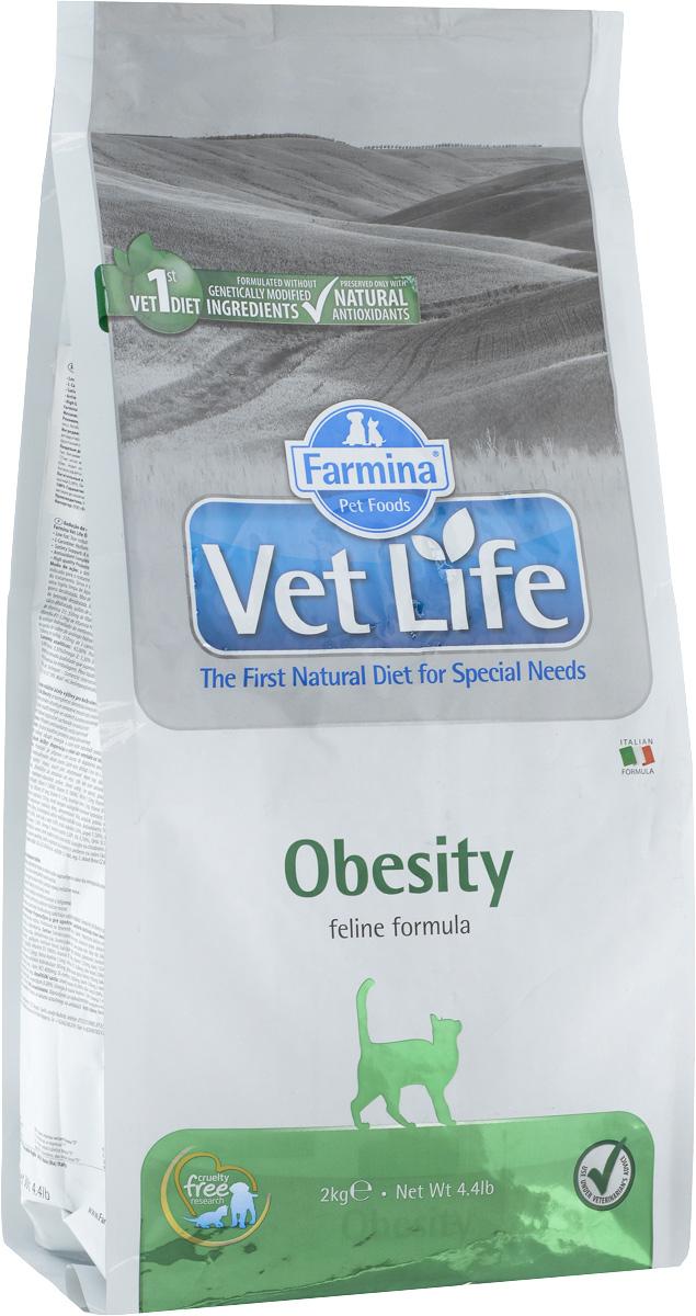 Корм сухой для взрослых кошек Farmina Vet Life, диетический, для снижения излишнего веса, 2 кг farmina farmina vet life natural diet cat diabetic 2 кг