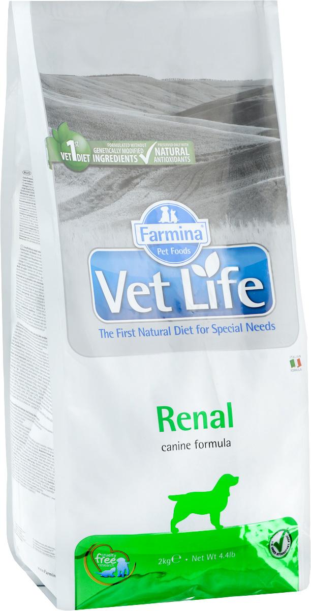 Корм сухой Farmina Vet Life для собак, диетический, для поддержания функции почек, в случаях почечной недостаточности, 2 кг корм сухой farmina vet life для кошек для поддержания функции почек при почечной недостаточности диетический 400 г