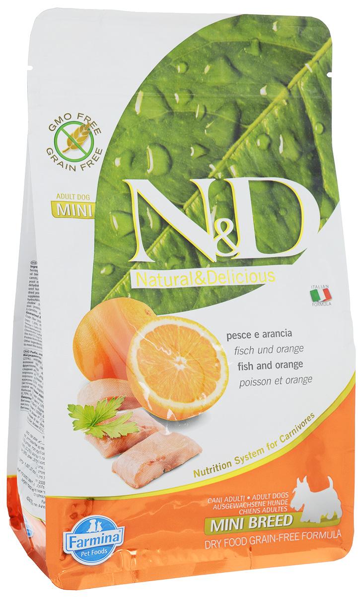 """Корм сухой Farmina """"N&D"""" для собак мелких пород, беззерновой, с рыбой и апельсином, 800 г"""