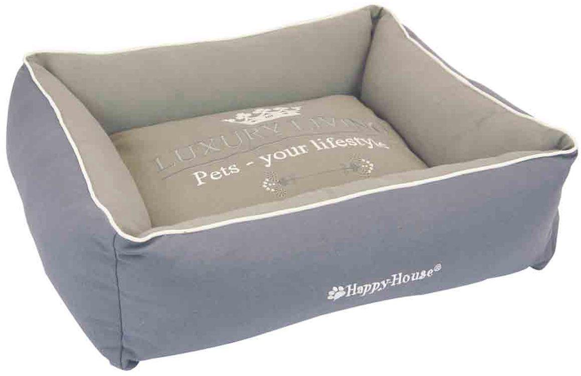 Лежак для животных Happy House Luxsury Living, цвет: серый, бежевый, 55 х 45 х 12 см лежак для животных happy house luxsury living цвет пурпурный 41 х 38 х 36 см