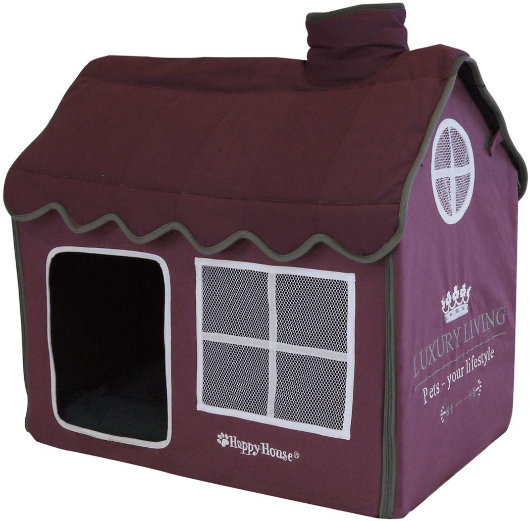 Домик для домашних животных Happy House Luxsury Living, цвет: пурпурный, 62 х 42 х 59 см лежак для животных happy house luxsury living цвет пурпурный 41 х 38 х 36 см