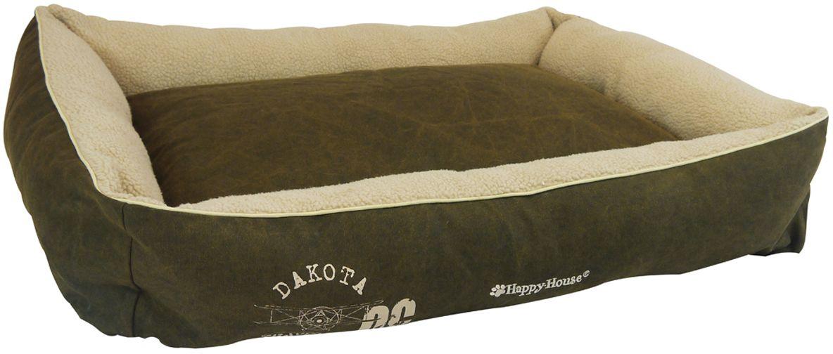Лежак для животных Happy House Dakota, цвет: бежевый, коричневый, 75 х 60 х 12 см поводок для собак happy house luxury цвет темно коричневый длина 125 см