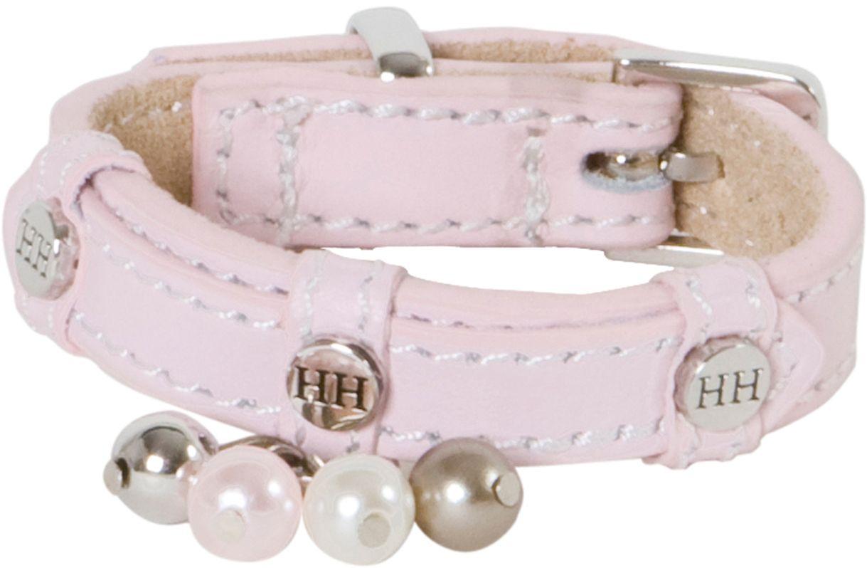 Ошейник для собак Happy House Beads, цвет: розовый, обхват шеи 15-18 см, ширина 1,2 см. Размер XXXS6702-1Ошейник для собак Happy House Beads станет изысканным аксессуаром для вашей собачки. Ошейник выполнен из натуральной гладкой и замшевой кожи. Он украшен клепками, контрастной строчкой и подвесками. Размер ошейника регулируется при помощи металлической пряжки. Имеется металлическое кольцо для крепления поводка. Клеевой слой, сверхпрочные нити, крепкие металлические элементы делают ошейник надежным и долговечным. Изделие отличается высоким качеством, удобством и универсальностью.Ваша собака тоже хочет выглядеть стильно! Такой модный ошейник станет для питомца отличным украшением и выделит его среди остальных животных. Обхват шеи: 15-18 см. Ширина ошейника: 1,2 см.