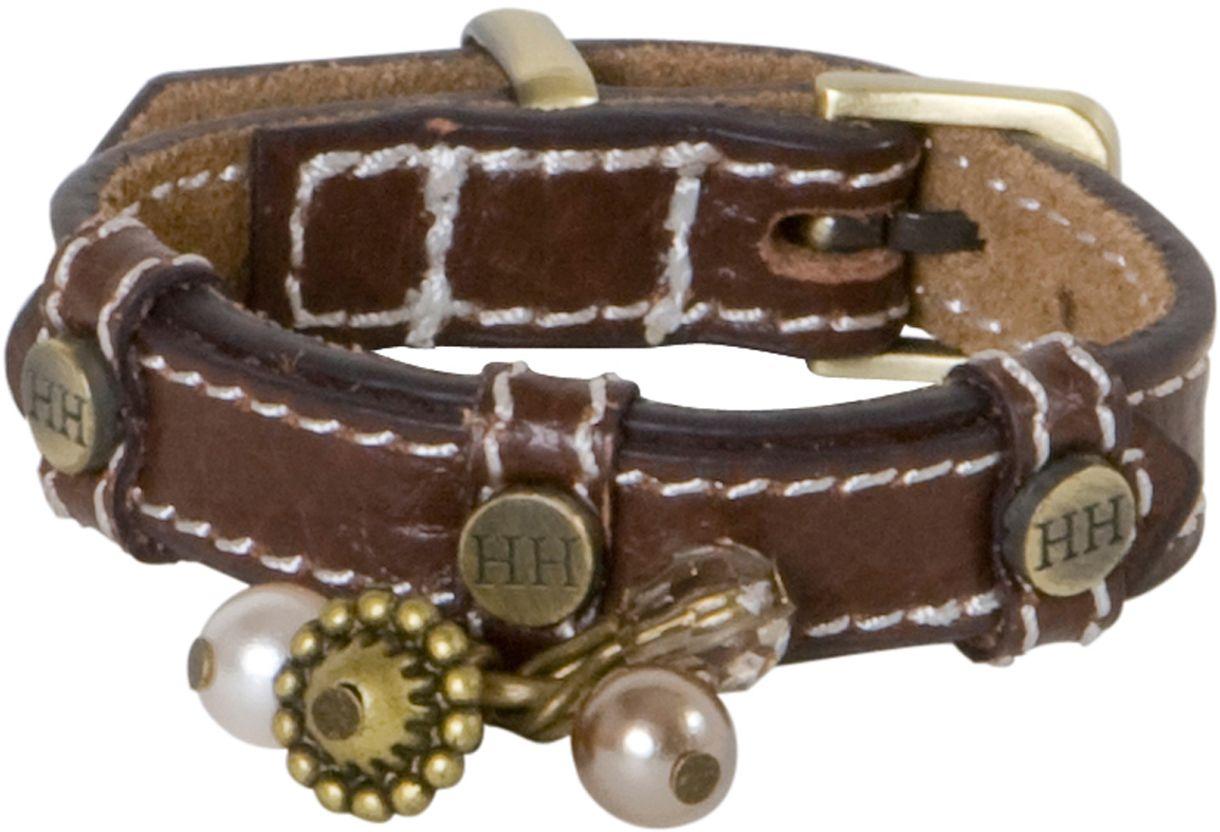 Ошейник для собак Happy House Beads, цвет: коричневый, обхват шеи 15-18 см, ширина 1,2 см. Размер XXXS поводок для собак happy house luxury цвет темно коричневый длина 125 см