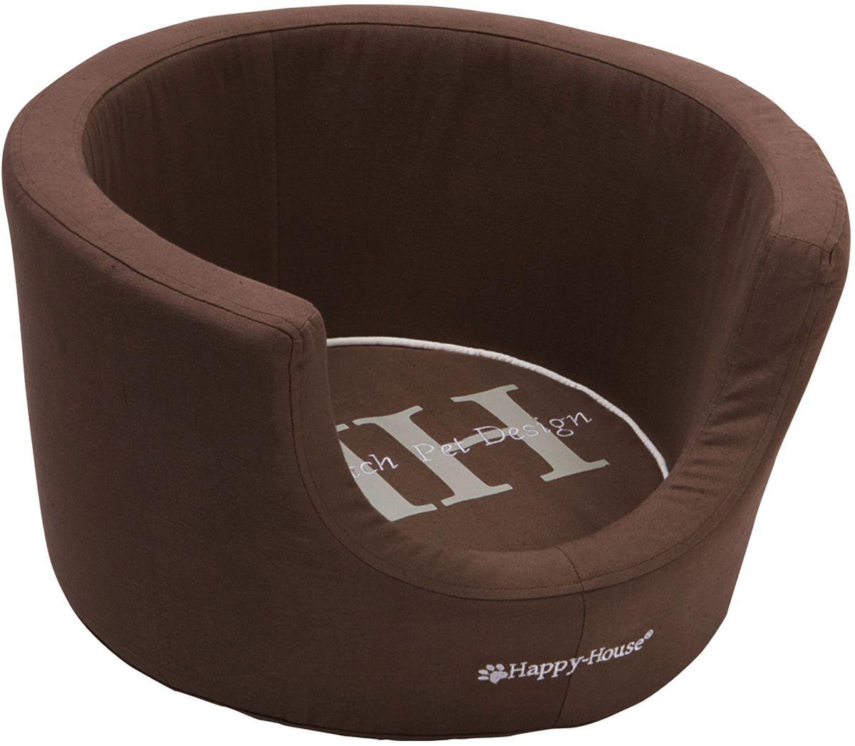 Лежак для животных Happy House Canvas Comfort, цвет: коричневый, 52 х 52 х 31 см поводок для собак happy house luxury цвет темно коричневый длина 125 см