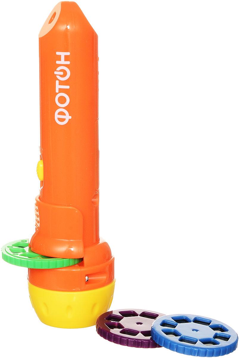Фотон Мультфонарик с дисками Любимые сказки цвет оранжевый фотон мультфонарик брелок тигруля