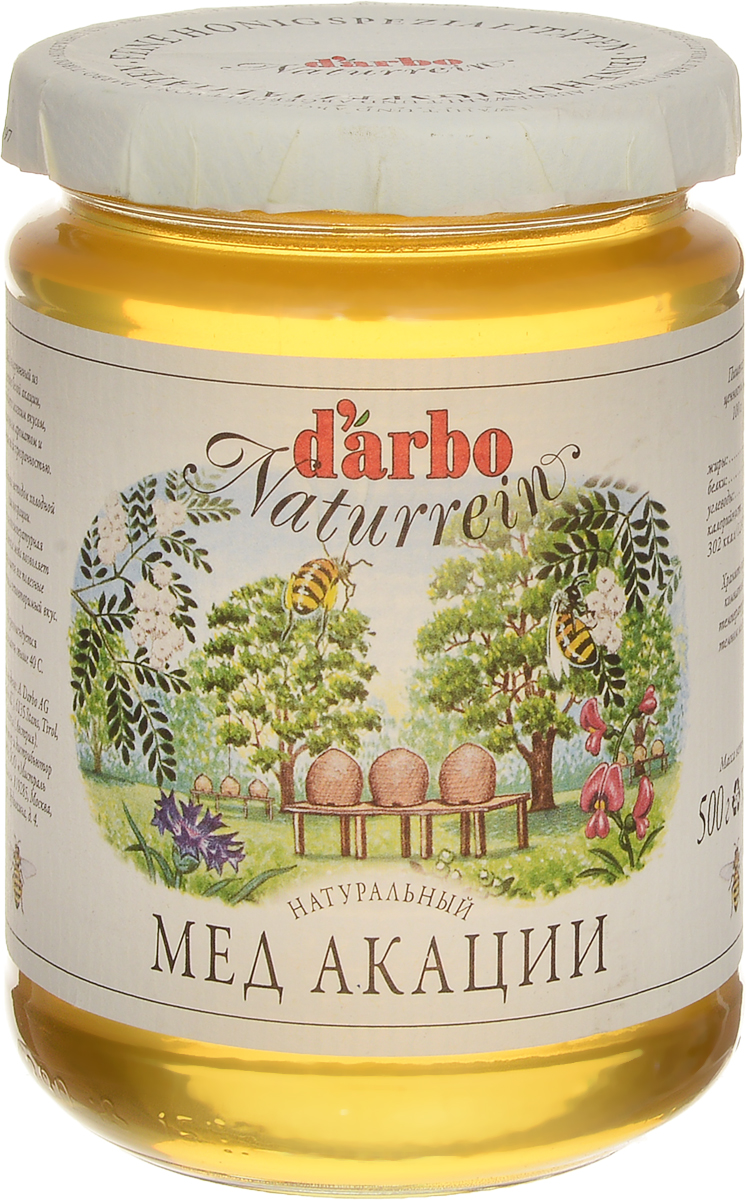 Darbo мед акации, 500 г мед акации с кэробом royal forest 250г