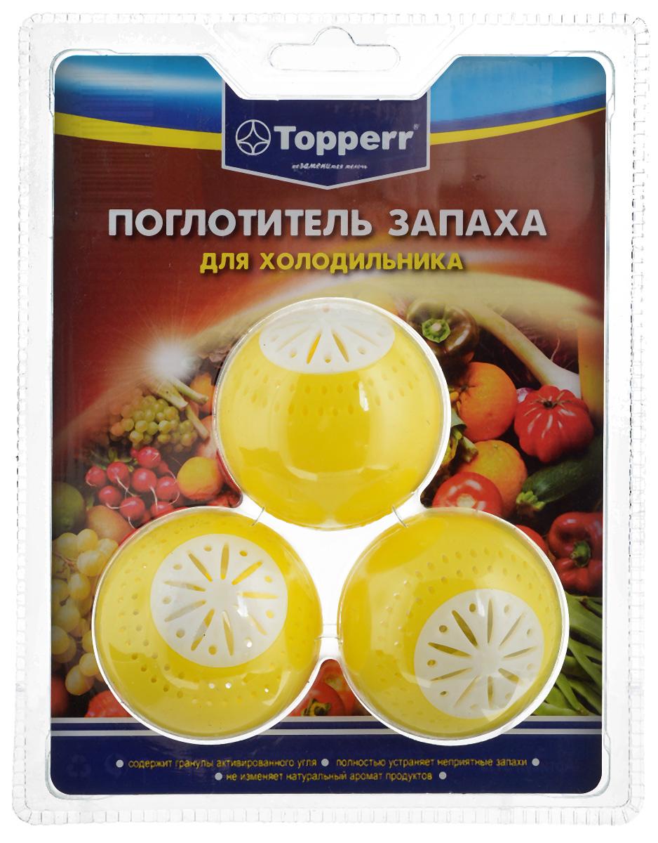 Поглотитель запаха для холодильника Topperr Шар, 3 шт3104Поглотитель запаха для холодильника Topperr Шар полностью удаляет неприятные запахи в холодильнике. Средство содержит гранулы активированного угля, являющегося лучшим из адсорбентов. Активированный уголь способен полностью поглощать неприятные запахи даже таких продуктов, как чеснок, лук, сыр, рыба, не выделяя собственных запахов. Не воздействует на продукты и сохраняет их натуральные ароматы. Способ применения: Вскрыть защитную упаковку и поместить в холодильник. Эффективен в течение 2 месяцев с момента вскрытия защитной упаковки. Диаметр шара: 5 см. Рекомендуем!